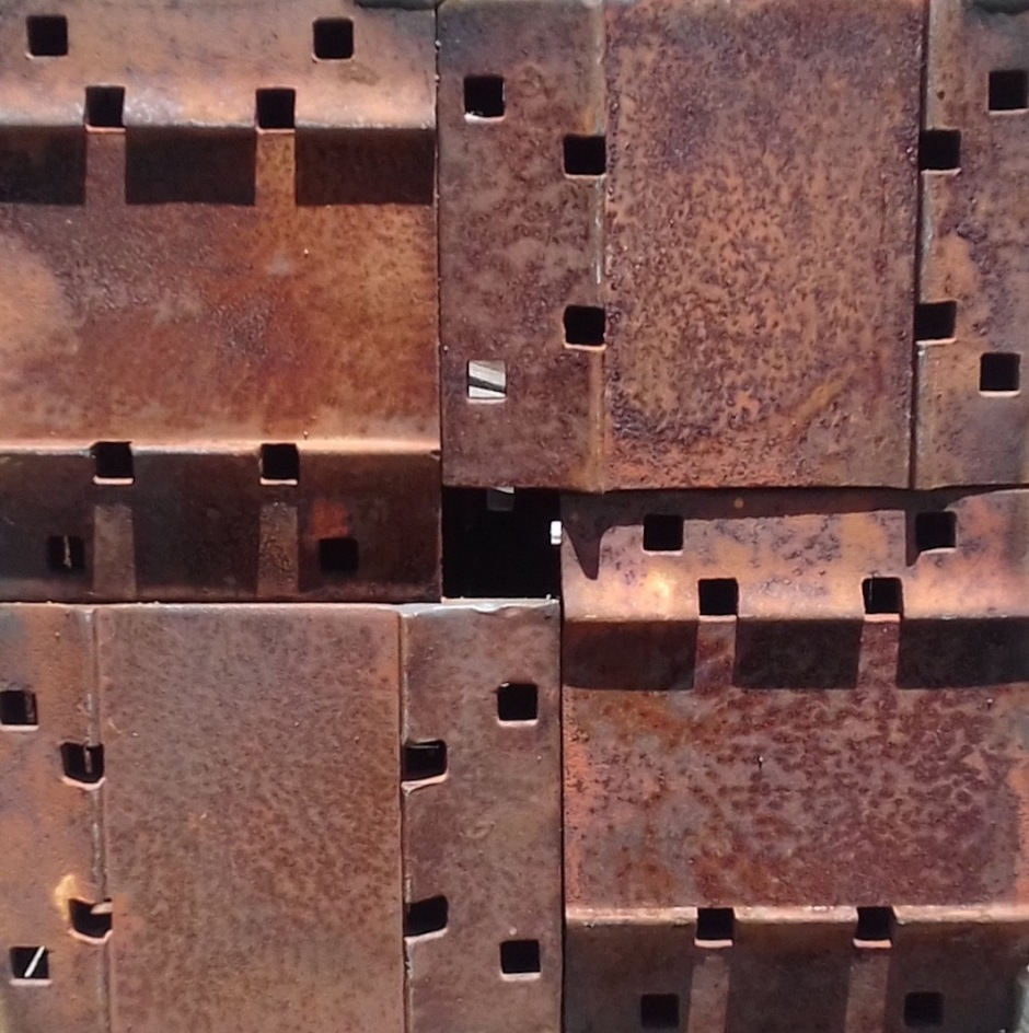 'Train Stop' cast iron welded cube ( close up) by Sally Stoneman 2016